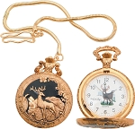 Deer Pocket Watch      Brand: Infinity     Item Number: IW25      White face with black hands and image of deer.