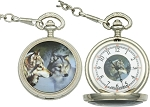 Wolf Pocket Watch Brand: Infinity Item Number: IW47 White face with black hands and image of wolf.