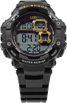Shock Digital Watch      Brand: UZI      Water resistant to 50m. Scratch resistant face. Features include: stop watch,