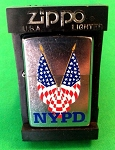 Zippo Lighter NYPD Crossed Flags, Street Chrome